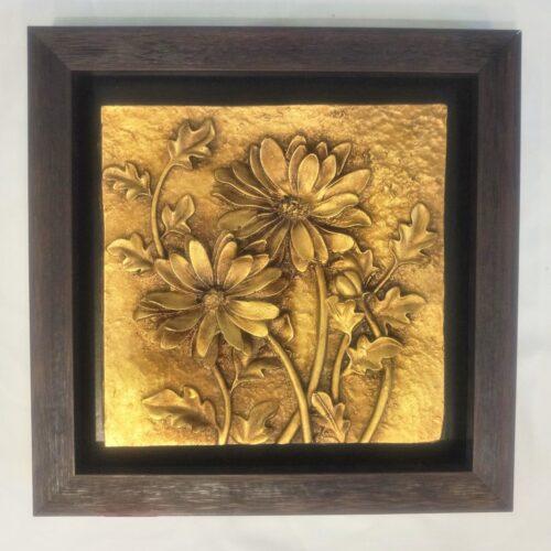 تابلو گل طلایی طرح برجسته