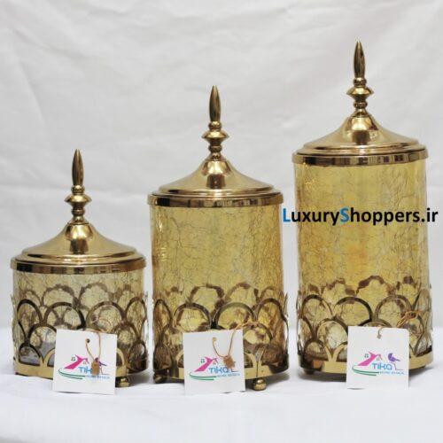 شکلات خوری طلایی سه پایه طرح استوانه ای بدنه استیل و شیشه ابگز شده